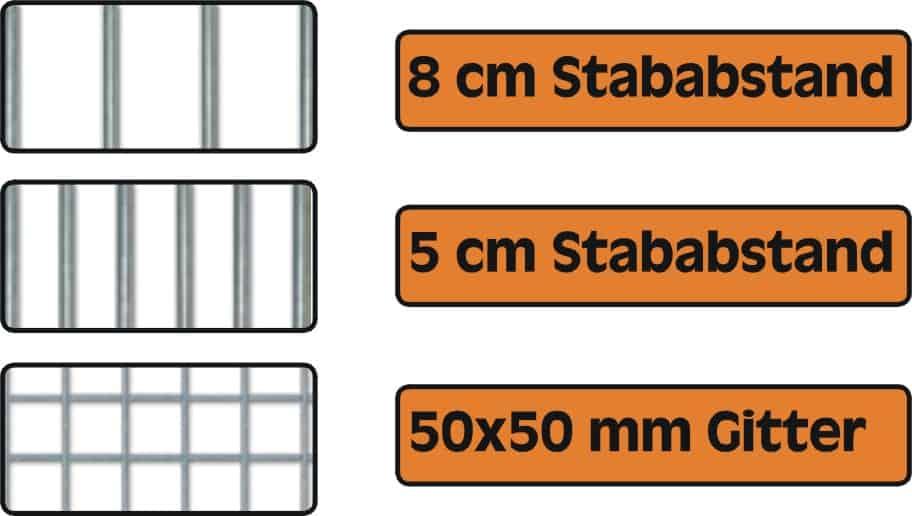 Zwingerelemente in 8 und 5 cm Rohrstab und Gittergewebe 50 x 50 x 4 mm