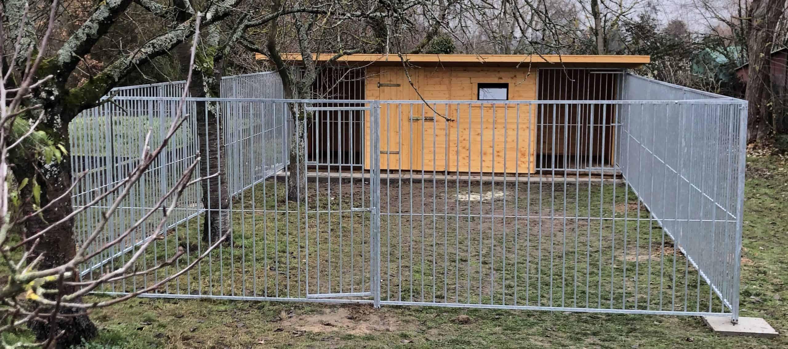 Hundezwinger - Helsinki - 6.00 x 3.00 Meter mit Züchterraum 3.00 x 3.00 Meter und Auslauf 9.00 x 6.00 Meter